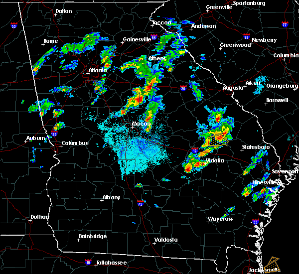 Radar Image for Severe Thunderstorms near Glenwood, GA at 4/23/2018 6:54 PM EDT