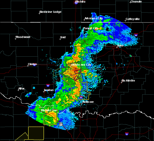 Radar Image for Severe Thunderstorms near Prague, OK at 5/2/2018 9:00 PM CDT