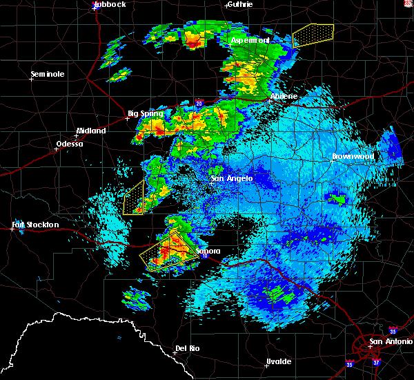 Radar Image for Severe Thunderstorms near Eldorado, TX at 5/3/2018 12:15 AM CDT