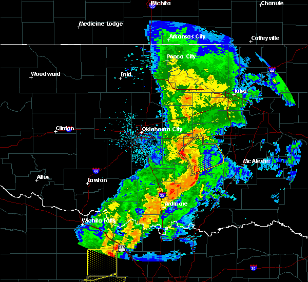 Radar Image for Severe Thunderstorms near Cromwell, OK at 5/3/2018 8:46 AM CDT