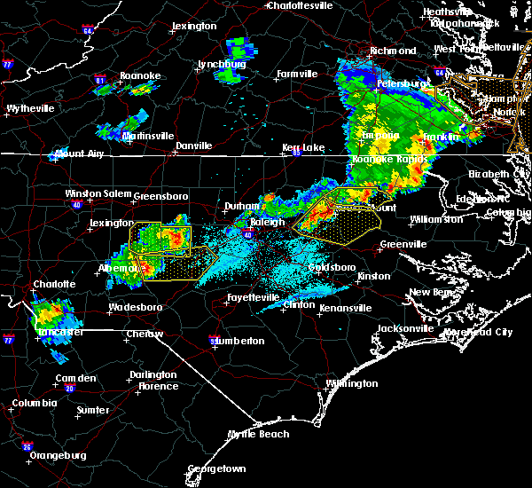 Radar Image for Severe Thunderstorms near Sanford, NC at 5/10/2018 7:38 PM EDT