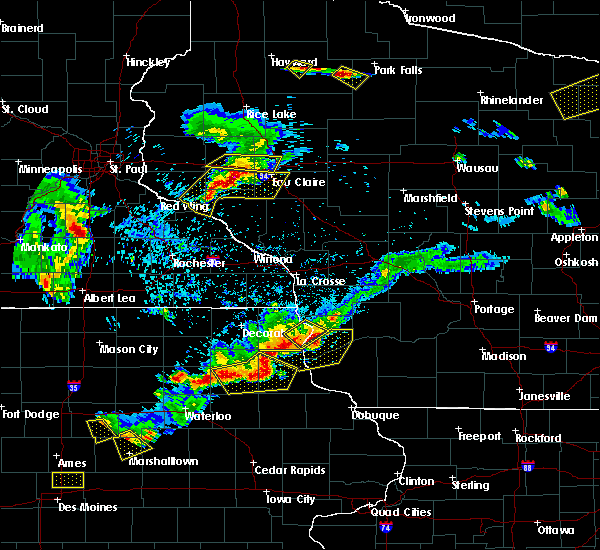 Radar Image for Severe Thunderstorms near Bell Center, WI at 5/25/2018 7:23 PM CDT