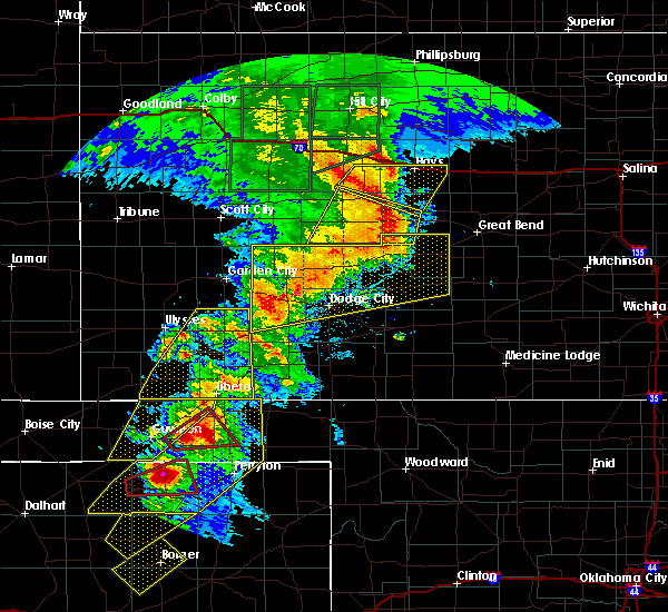 Radar Image for Severe Thunderstorms near La Crosse, KS at 5/28/2018 8:54 PM CDT