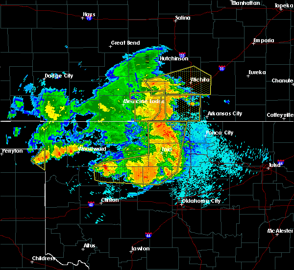 Radar Image for Severe Thunderstorms near Kremlin, OK at 5/31/2018 12:55 AM CDT