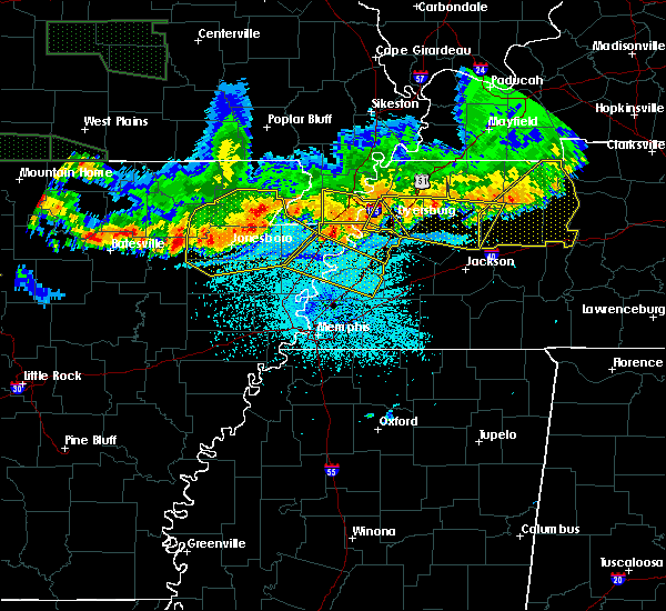 Radar Image for Severe Thunderstorms near Blytheville, AR at 6/1/2018 12:38 AM CDT