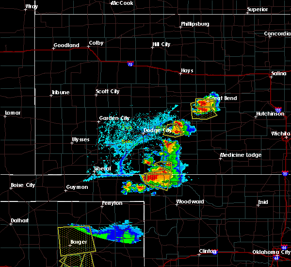 Radar Image for Severe Thunderstorms near Greensburg, KS at 6/12/2018 7:04 PM CDT
