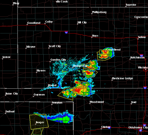 Radar Image for Severe Thunderstorms near Greensburg, KS at 6/12/2018 7:14 PM CDT