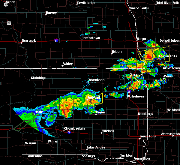 Radar Image for Severe Thunderstorms near Frankfort, SD at 6/16/2018 9:25 PM CDT