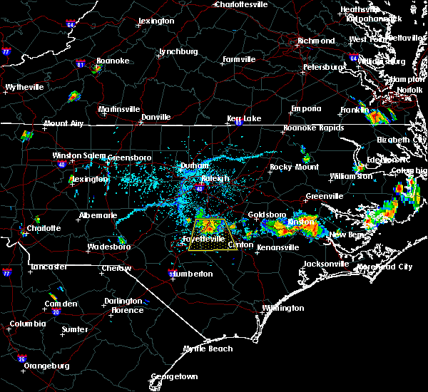 Radar Image for Severe Thunderstorms near Fayetteville, NC at 6/17/2018 5:38 PM EDT