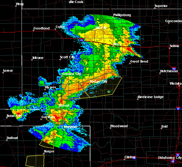 Radar Image for Severe Thunderstorms near Greensburg, KS at 6/22/2018 7:05 PM CDT