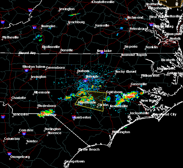 Radar Image for Severe Thunderstorms near Fayetteville, NC at 6/24/2018 3:54 PM EDT