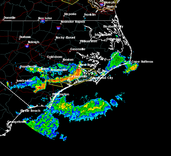 Radar Image for Severe Thunderstorms near Jacksonville, NC at 6/24/2018 6:45 PM EDT