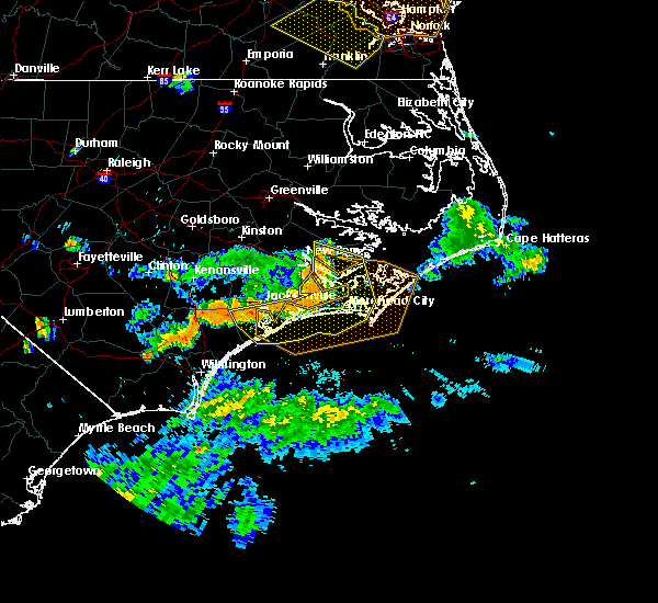 Radar Image for Severe Thunderstorms near Jacksonville, NC at 6/24/2018 7:03 PM EDT