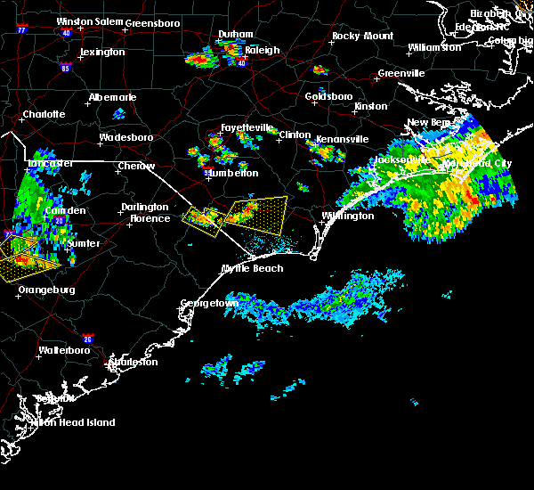 Radar Image for Severe Thunderstorms near Fair Bluff, NC at 6/24/2018 8:48 PM EDT