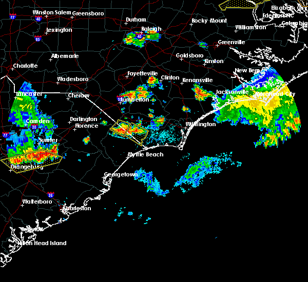 Radar Image for Severe Thunderstorms near Fair Bluff, NC at 6/24/2018 9:26 PM EDT