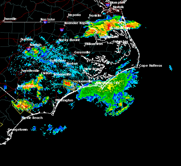 Radar Image for Severe Thunderstorms near Jacksonville, NC at 6/24/2018 9:48 PM EDT