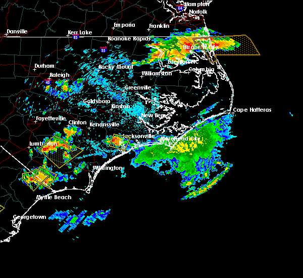 Radar Image for Severe Thunderstorms near Jacksonville, NC at 6/24/2018 10:03 PM EDT
