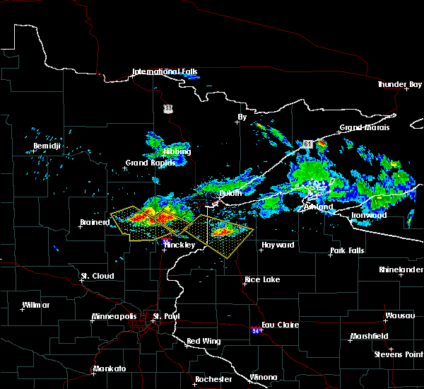 Radar Image for Severe Thunderstorms near Moose Lake, MN at 6/28/2018 5:50 PM CDT