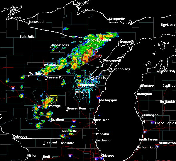 Radar Image for Severe Thunderstorms near Pembine, WI at 7/1/2018 1:17 PM CDT