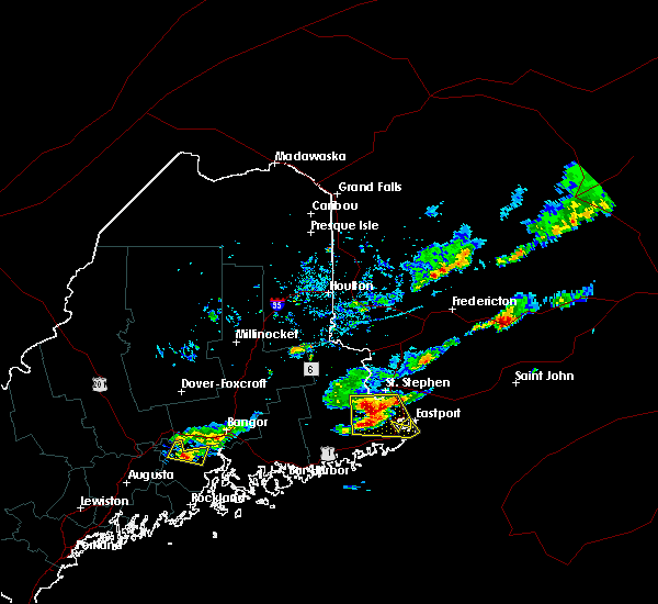 Radar Image for Severe Thunderstorms near Woodland, ME at 7/10/2018 5:05 PM EDT