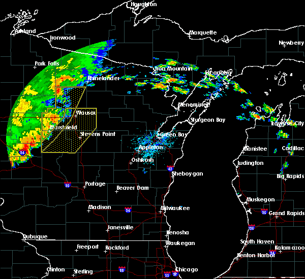 Radar Image for Severe Thunderstorms near Mosinee, WI at 7/12/2018 9:20 PM CDT