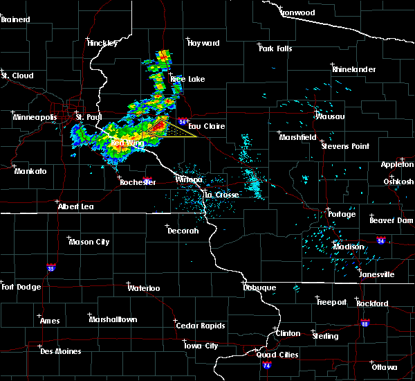 Radar Image for Severe Thunderstorms near Durand, WI at 8/3/2018 10:50 AM CDT