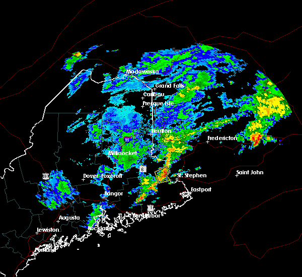 Radar Image for Severe Thunderstorms near Woodland, ME at 8/4/2018 1:52 PM EDT