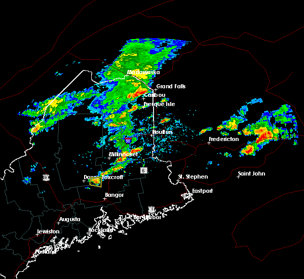 Radar Image for Severe Thunderstorms near Milo, ME at 8/7/2018 1:47 PM EDT