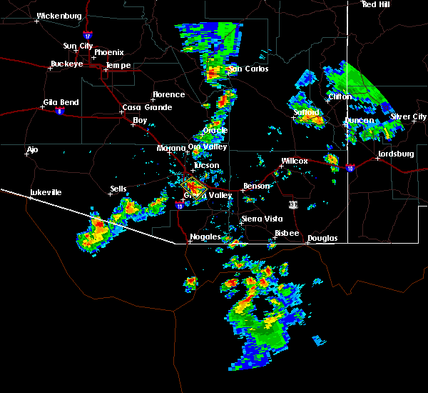 Radar Image for Severe Thunderstorms near Tucson, AZ at 8/7/2018 5:50 PM MST