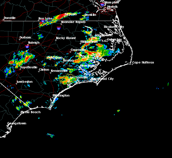 Radar Image for Severe Thunderstorms near Jacksonville, NC at 8/11/2018 2:50 PM EDT