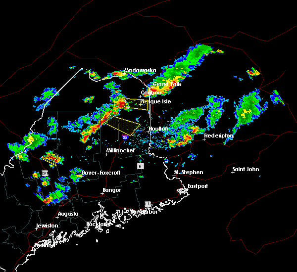 Radar Image for Severe Thunderstorms near Presque Isle, ME at 8/15/2018 3:47 PM EDT