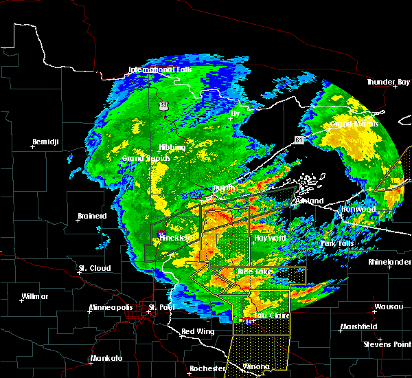 Radar Image for Severe Thunderstorms near Spooner, WI at 8/27/2018 6:57 PM CDT