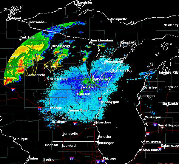 Radar Image for Severe Thunderstorms near Aniwa, WI at 9/4/2018 8:55 PM CDT