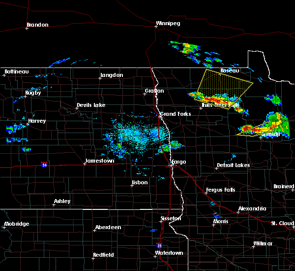Radar Image for Severe Thunderstorms near Roseau, MN at 9/12/2018 2:33 PM CDT