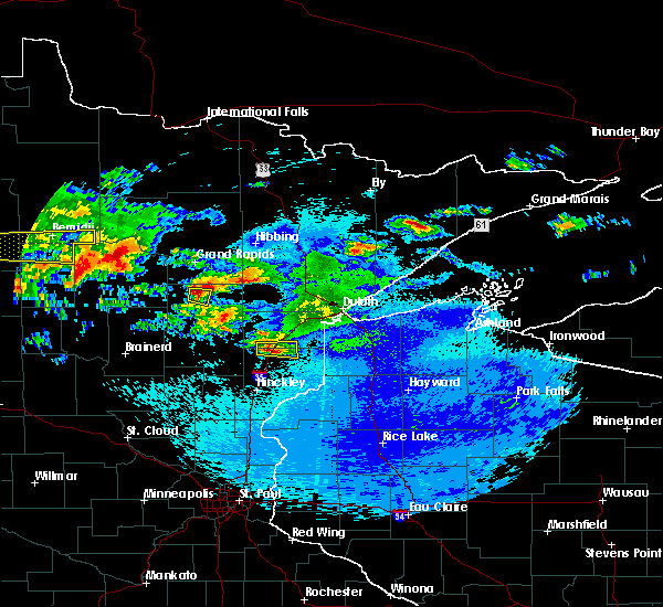 Radar Image for Severe Thunderstorms near Moose Lake, MN at 9/14/2018 10:52 PM CDT