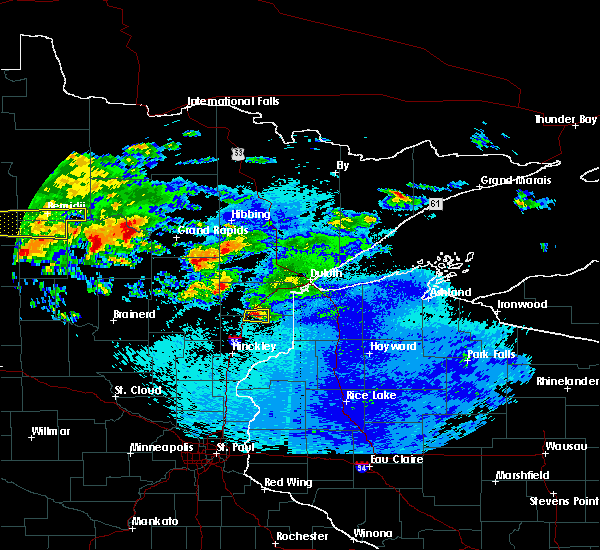 Radar Image for Severe Thunderstorms near Moose Lake, MN at 9/14/2018 11:08 PM CDT