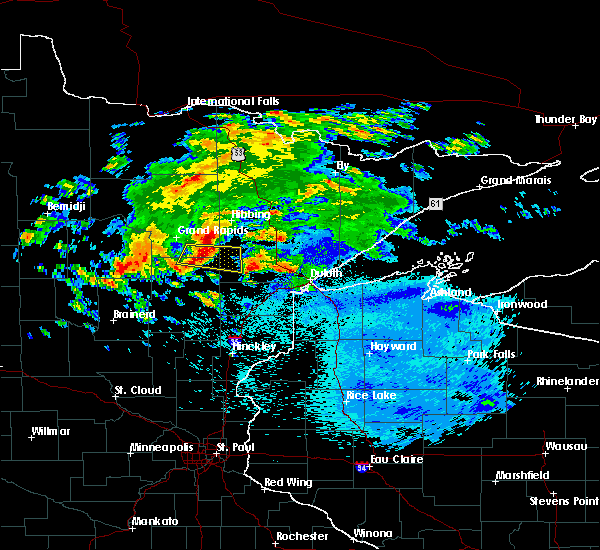 Radar Image for Severe Thunderstorms near Floodwood, MN at 9/15/2018 12:33 AM CDT