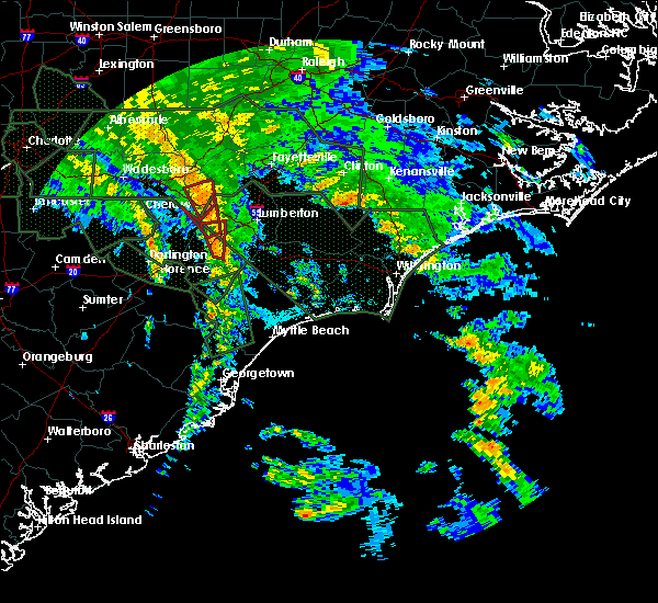 Radar Image for Severe Thunderstorms near Pembroke, NC at 9/16/2018 4:01 PM EDT