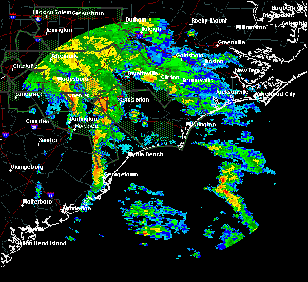Radar Image for Severe Thunderstorms near Pembroke, NC at 9/16/2018 4:32 PM EDT
