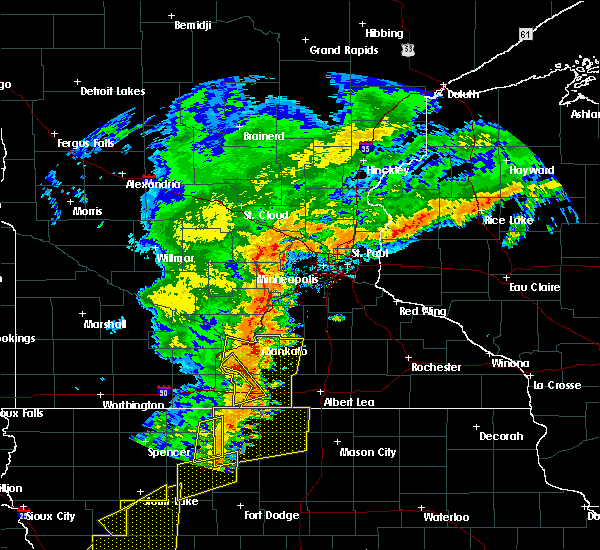 Radar Image for Severe Thunderstorms near Winnebago, MN at 9/20/2018 6:12 PM CDT