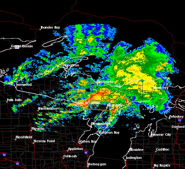 Radar Image for Severe Thunderstorms near Escanaba, MI at 10/3/2018 6:25 PM CDT