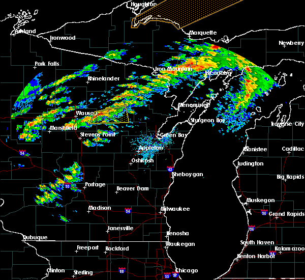 Radar Image for Severe Thunderstorms near Aniwa, WI at 10/3/2018 7:05 PM CDT