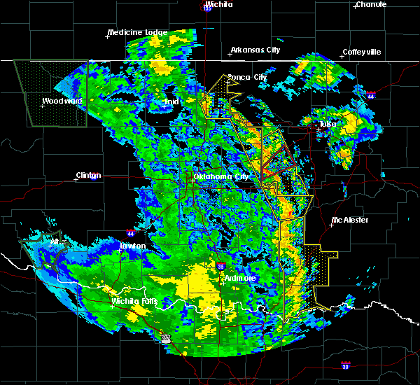 Radar Image for Severe Thunderstorms near Prague, OK at 10/9/2018 10:00 AM CDT
