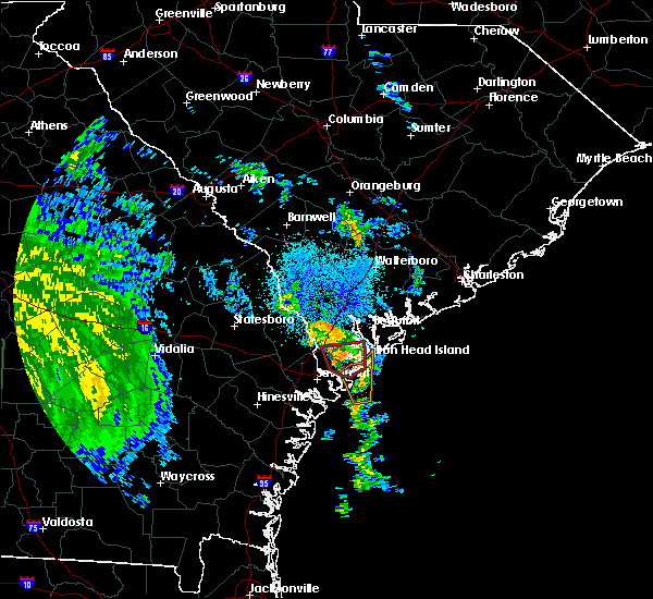 Radar Image for Severe Thunderstorms near Bluffton, SC at 10/10/2018 11:05 PM EDT