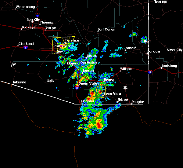 Radar Image for Severe Thunderstorms near Whetstone, AZ at 10/21/2018 4:25 PM MST