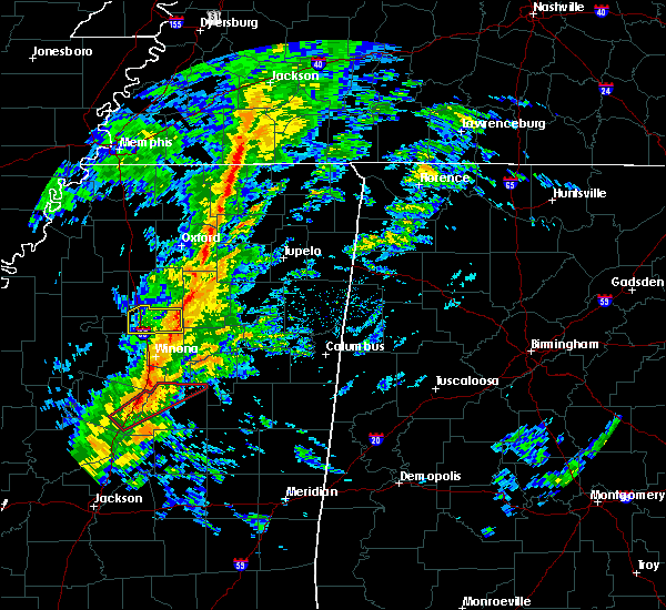 Radar Image for Severe Thunderstorms near Grenada, MS at 12/31/2018 11:56 AM CST