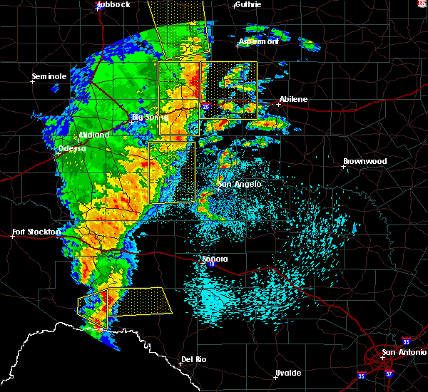 Radar Image for Severe Thunderstorms near Sterling City, TX at 3/13/2019 12:25 AM CDT