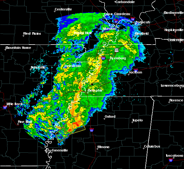 Radar Image for Severe Thunderstorms near Cleveland, MS at 3/13/2019 9:28 PM CDT