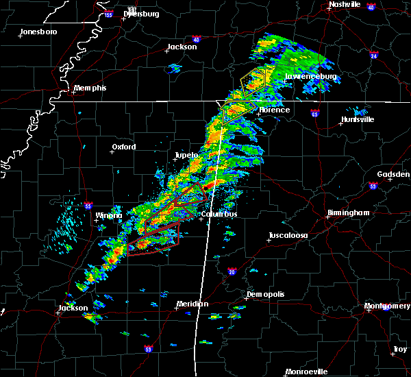 Radar Image for Severe Thunderstorms near Waterloo, AL at 3/14/2019 1:19 PM CDT