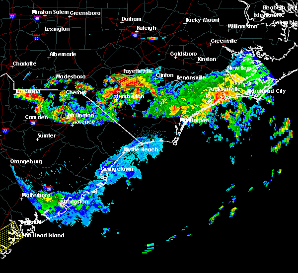 Radar Image for Severe Thunderstorms near Pembroke, NC at 6/9/2015 7:51 PM EDT